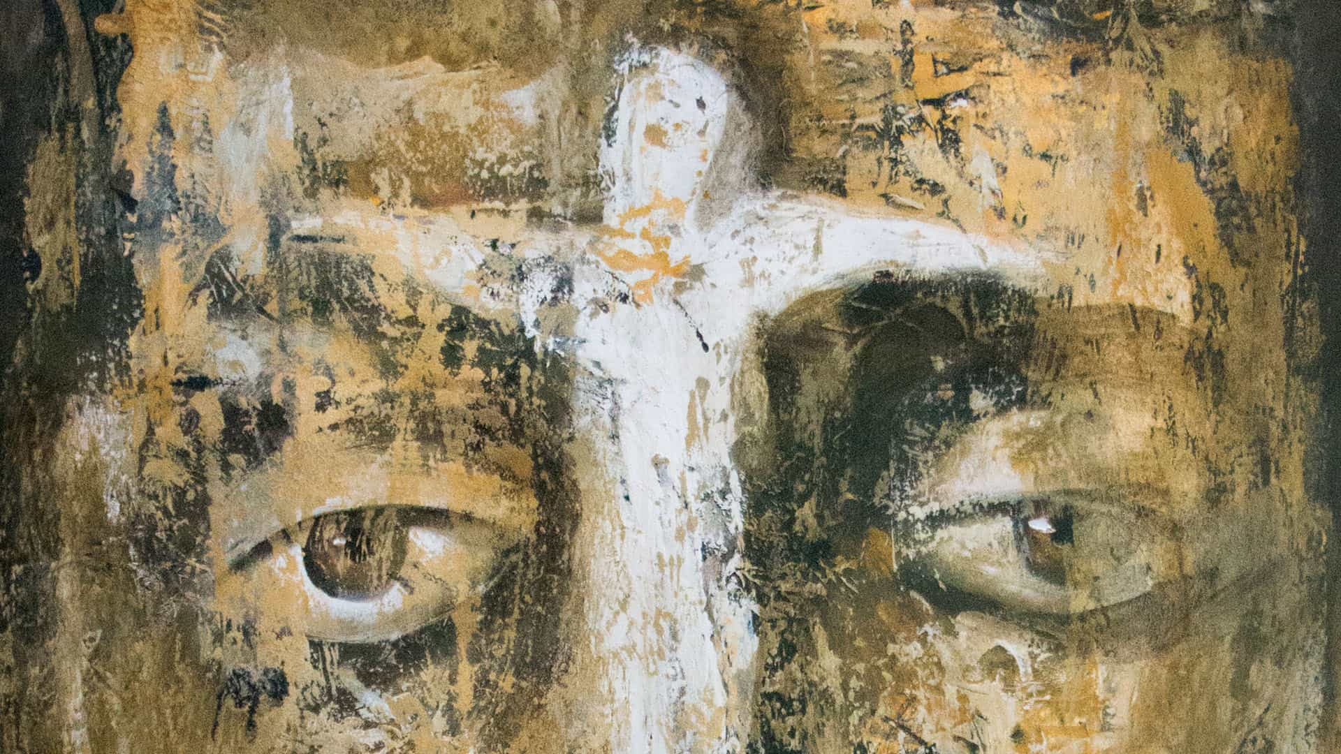 Painting of Jesus Face and the Cross