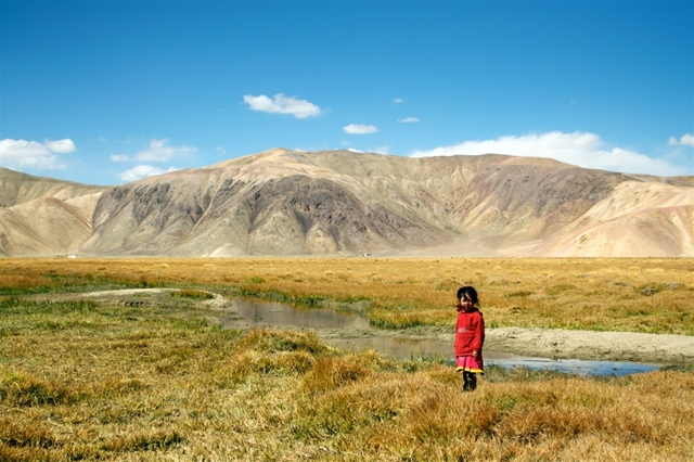 girl standing in a forbidding landscape