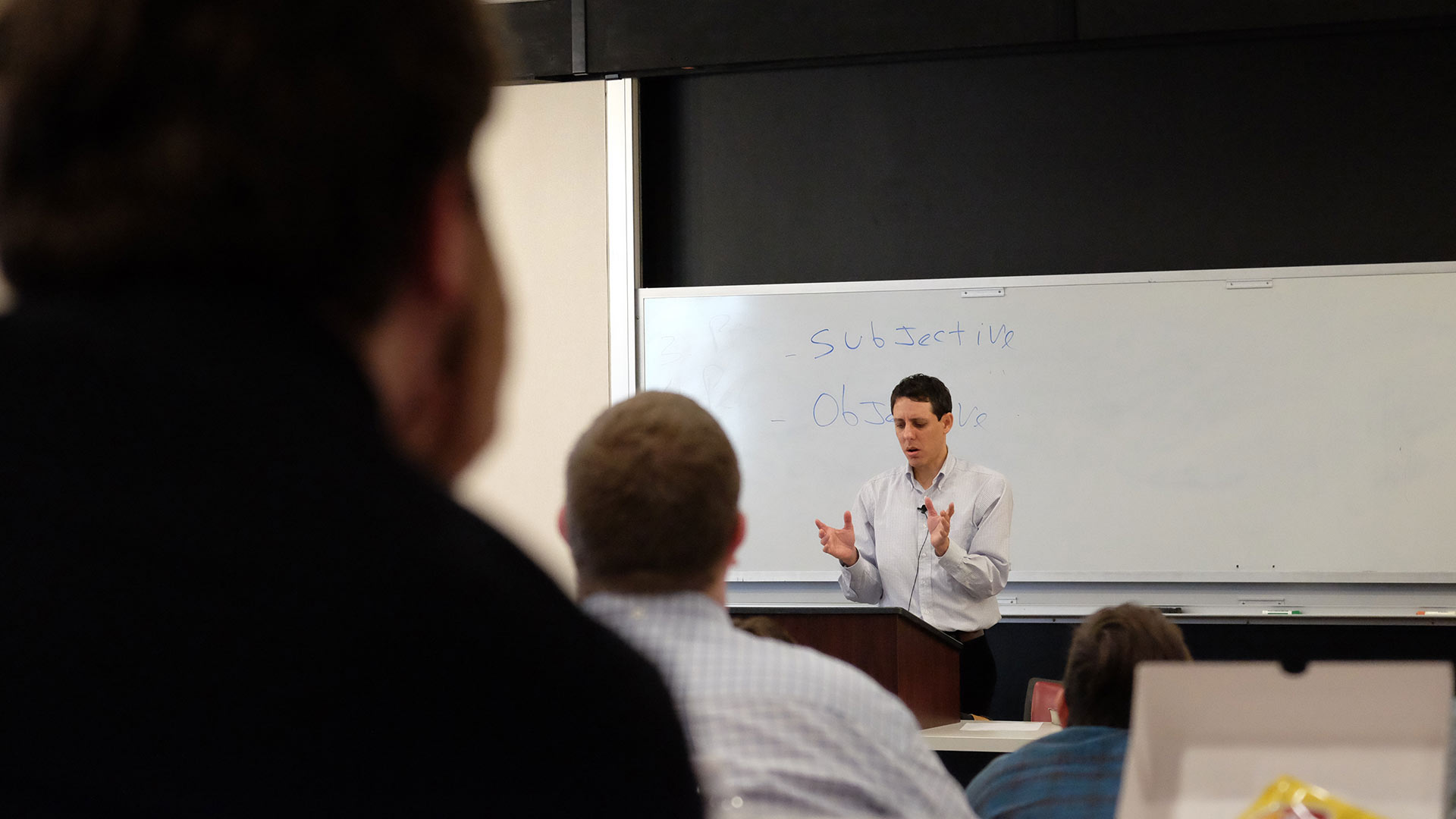 professor lecturing on preaching